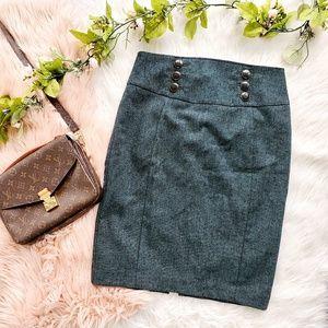 Express Teal Tweed Pencil Skirt